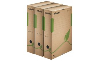 Eco-friendly archiving boxes Esselte A4 made of recycled cardboard