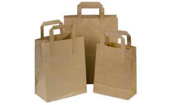 Flat maišeliai iš rudo kraft popieriaus su plokščiomis rankenėlėmis