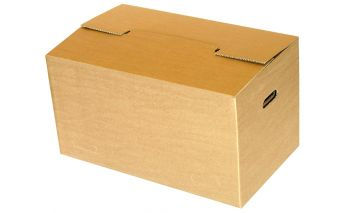 Cardboard moving box with handles