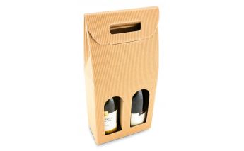 Cardboard gift box for two bottles with window