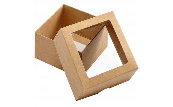 Kartoninė dviejų dalių dovanų dėžutė su langeliu