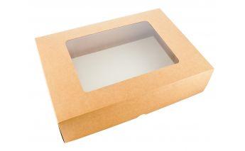 Dviejų dalių kartoninė dovanų dėžutė su langeliu