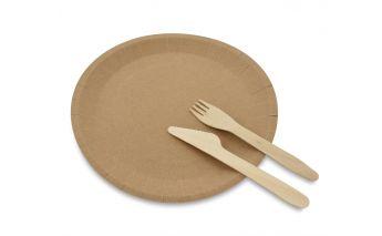 Экологические тарелки из переработанной крафт-бумаги