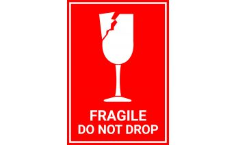 Lipnios etiketės su įspėjamaisiais ženklais Fragile do not drop ir This side up