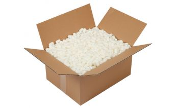 Packing foam beads to fill container volume