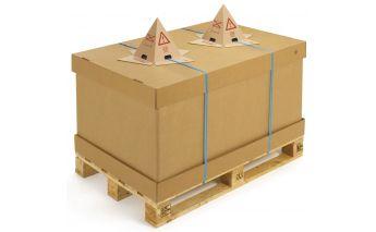 Priklijuojamas kartoninis apsauginis įspėjamasis kūgis dėžėms ir paletėms