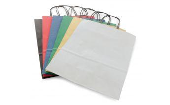 Spalvoti kraft popieriaus maišeliai su juodomis špagatinėmis rankenėlėmis