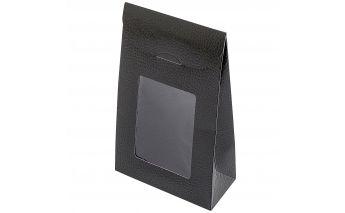 Vertikali popierinė dovanų dėžutė su langeliu